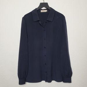 Tory Burch Navy Button Down Blouse Size 10